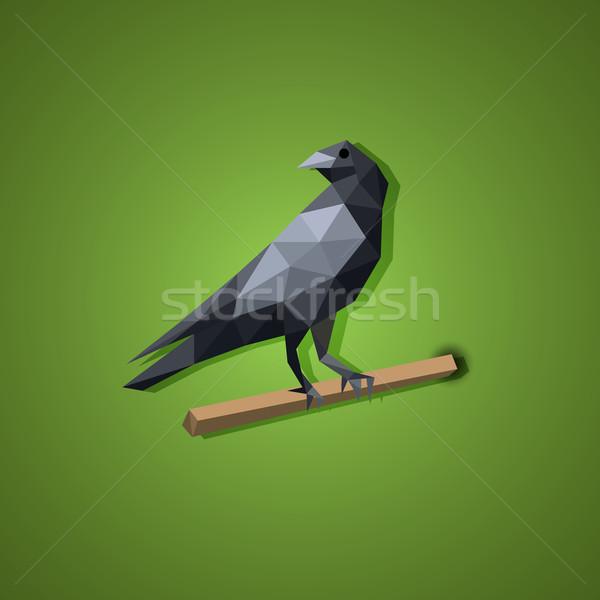 Zwarte raaf vogel vector laag veelhoek Stockfoto © jiaking1