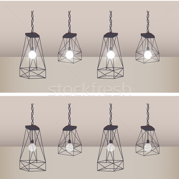Set of modern ceiling lights with black metal cage and white lam Stock photo © jiaking1