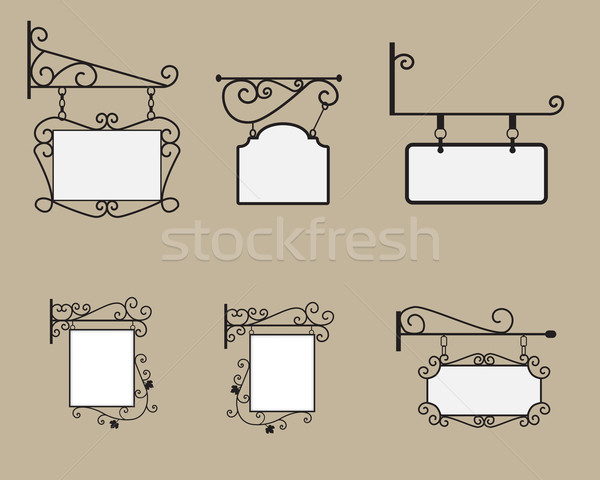 Hanging sign and Banner with black curved steel border Stock photo © jiaking1