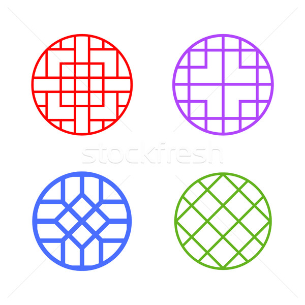 Modern round Korean pattern window frame, vector Stock photo © jiaking1
