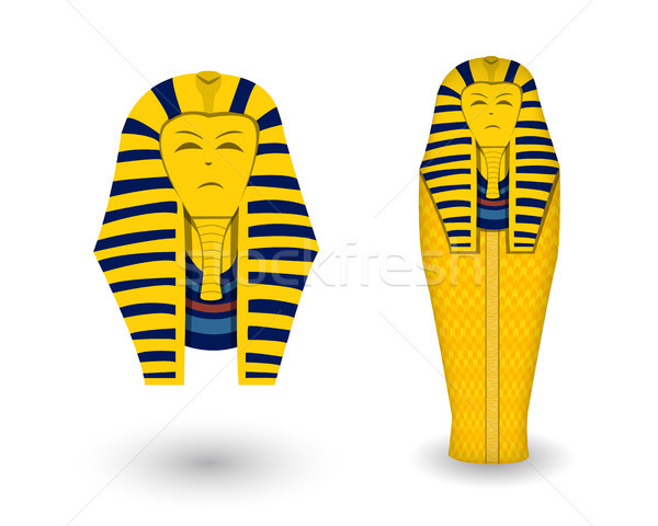 Pharaoh coffin and mask on white, vector Stock photo © jiaking1