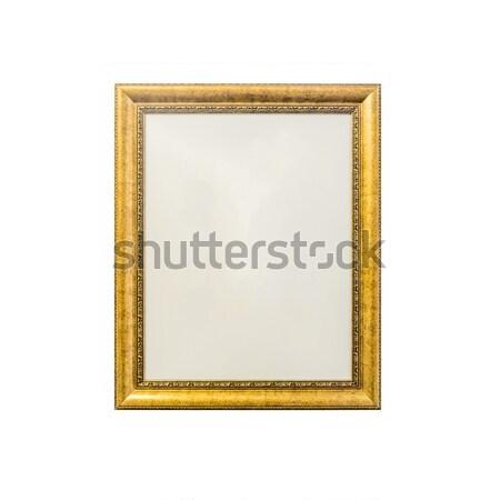 Arany klasszikus fényképkeret izolált fehér háttér Stock fotó © jiaking1