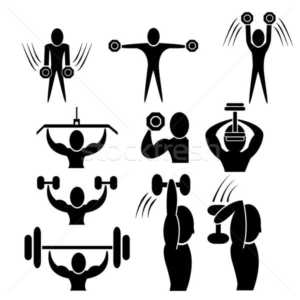 Fitnessz súlyzó súlyzó férfi terv testmozgás Stock fotó © jiaking1