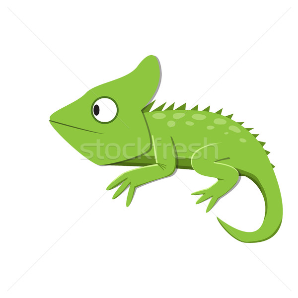 Green lizard watching something in flat style Stock photo © jiaking1