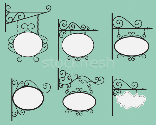 Hanging sign and Banner with black curved steel border and circl Stock photo © jiaking1