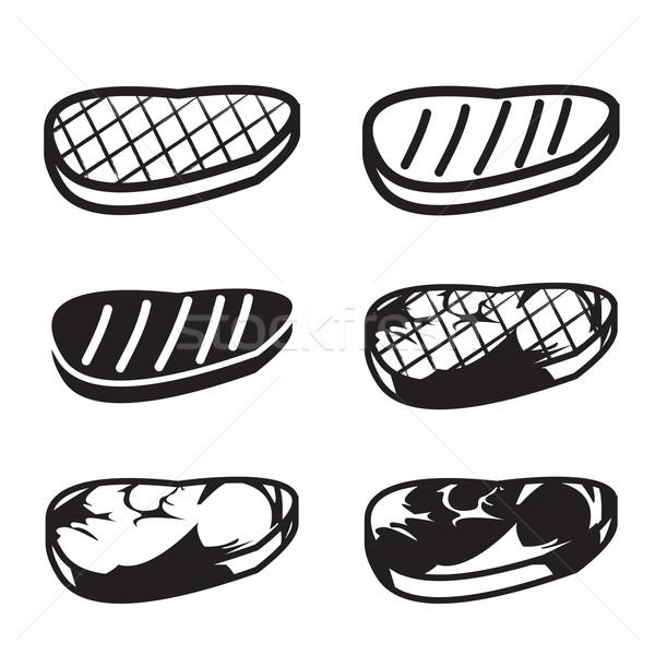 Szett grillezett hús vektor ikon gyűjtemény ikon étel Stock fotó © jiaking1