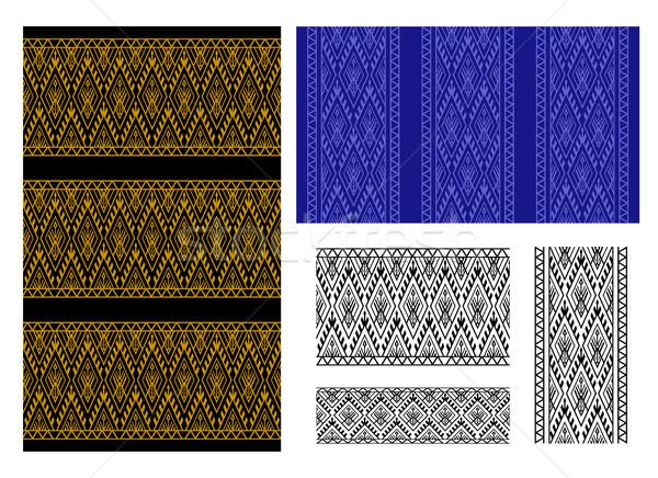 Végtelenített thai törzsi minta keret vektor Stock fotó © jiaking1