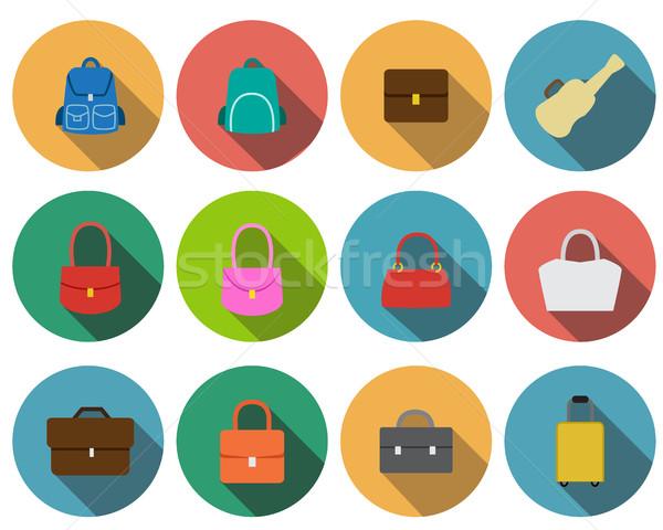 Establecer bolsa iconos estilo vector diseno Foto stock © jiaking1