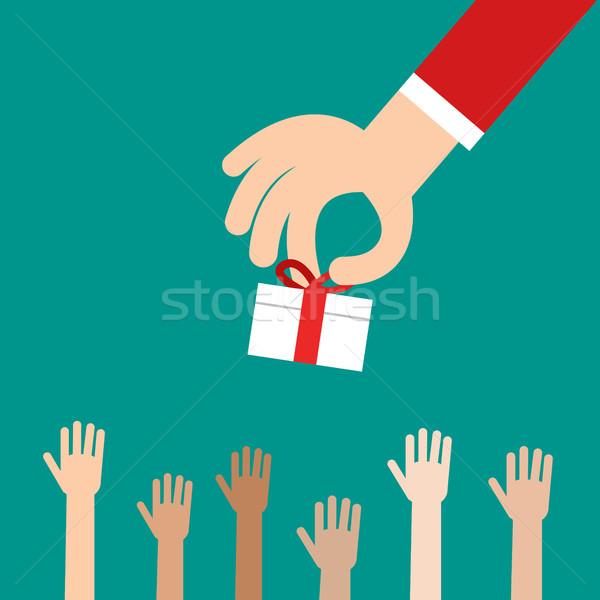 Kéz ajándék doboz sok gyerekek adomány üzlet Stock fotó © jiaking1