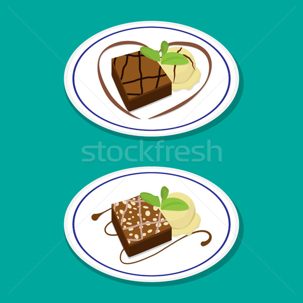 Fudge Brownie on dish with icecream, vector Stock photo © jiaking1