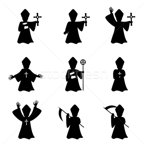 Set of bishop with book and cross in silhouette Stock photo © jiaking1