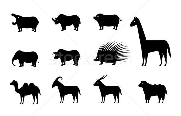 Establecer animales iconos silueta estilo vector Foto stock © jiaking1
