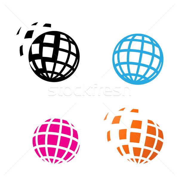 Digital Globe Icon in silhouette style Stock photo © jiaking1
