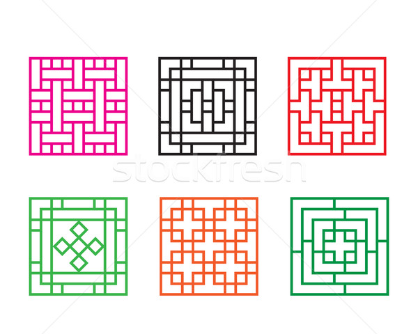Set of Chinese pattern window in square concept Stock photo © jiaking1