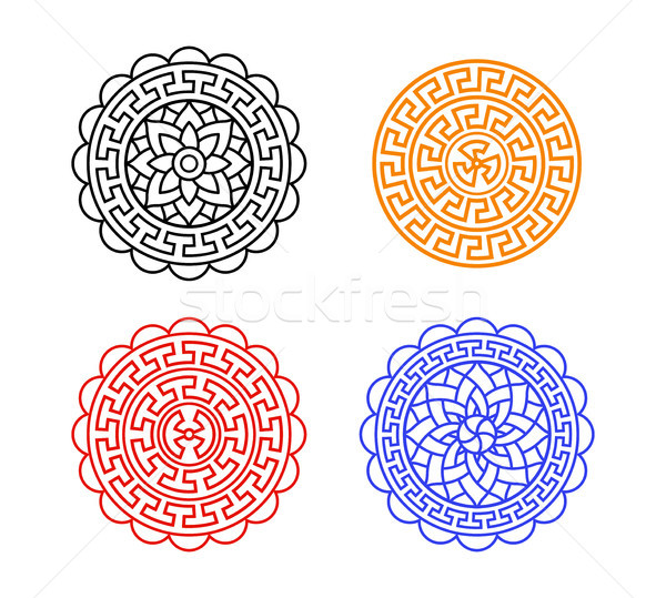 Set of Chinese moon cake pattern on white, vector Stock photo © jiaking1