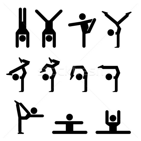Establecer gimnasia icono silueta estilo mano Foto stock © jiaking1