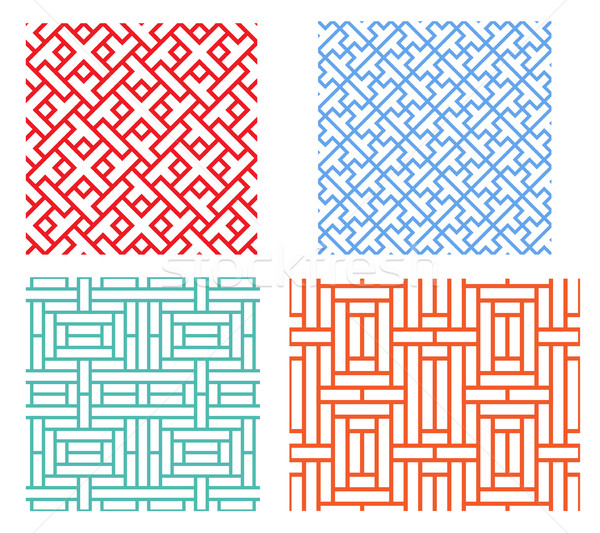 Seamless retro geometric puzzle pattern in asian style Stock photo © jiaking1