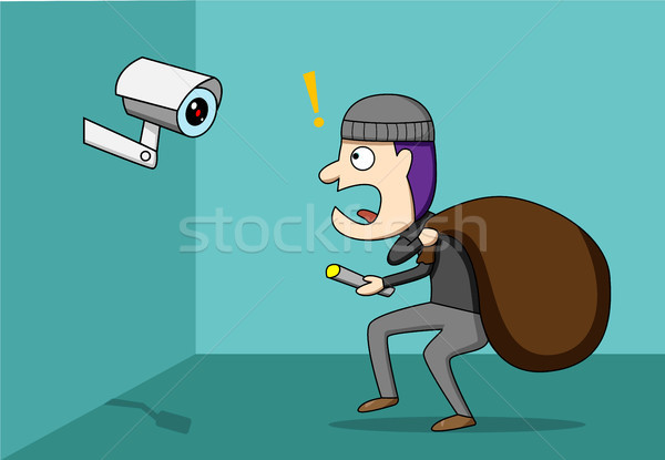 a768ad5c222 Thief shocked while CCTV detected a robber vector illustration ...
