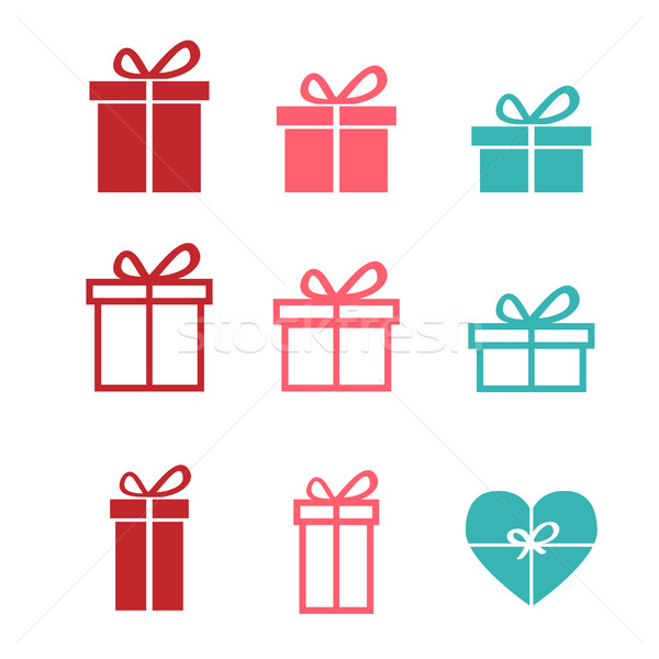 Set of gift icons and symbol, vector Stock photo © jiaking1