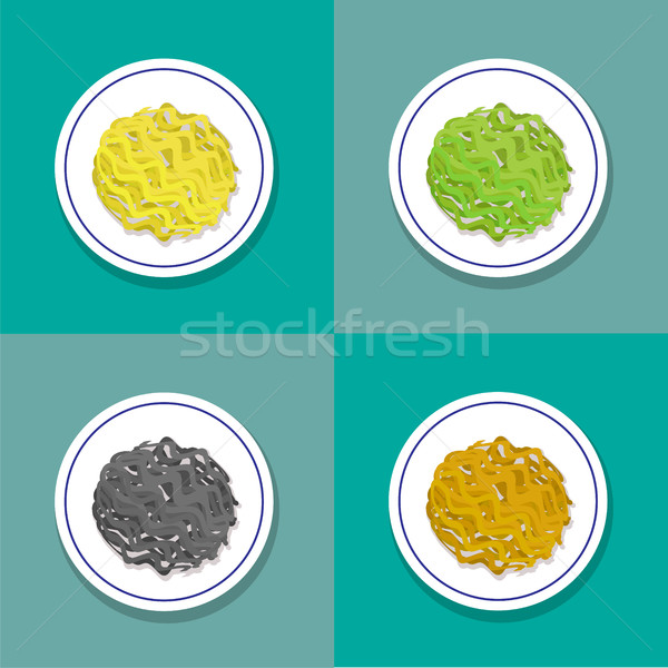 Set of only noodle on plate in flat style, vector Stock photo © jiaking1
