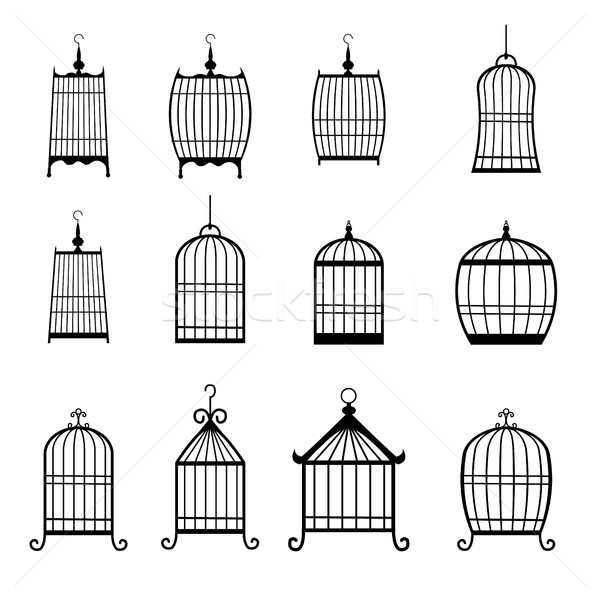 Set of modern bird cages. editable Stock photo © jiaking1