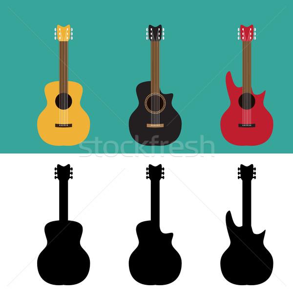 Ayarlamak gitar siluet stil vektör müzik Stok fotoğraf © jiaking1