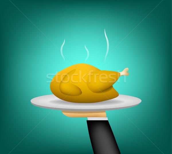 3D pollo asado camarero mano vista lateral Foto stock © jiaking1