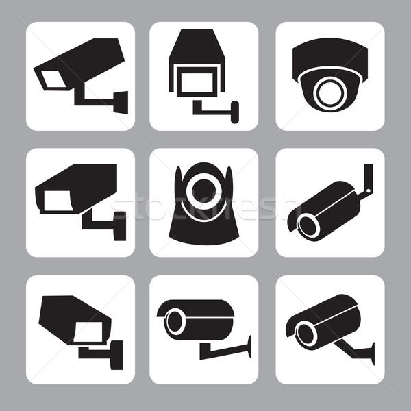 Ensemble cctv caméra de sécurité vecteur icône mur Photo stock © jiaking1