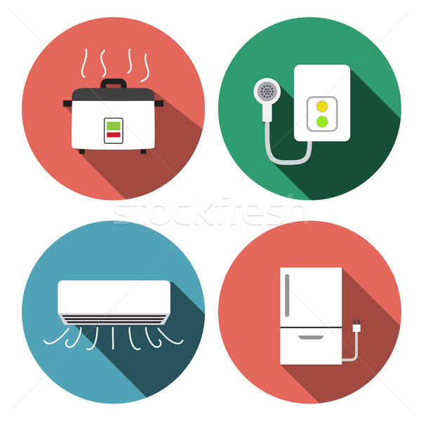 Water heater, air conditioner, rice cooker icons Stock photo © jiaking1