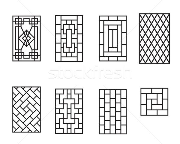 Establecer chino patrón marco de ventana vector textura Foto stock © jiaking1