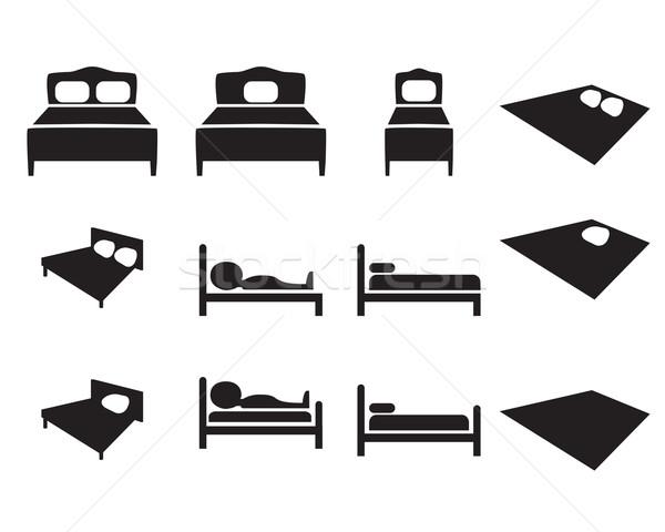 Set of Hotel icon, Bed sign Stock photo © jiaking1