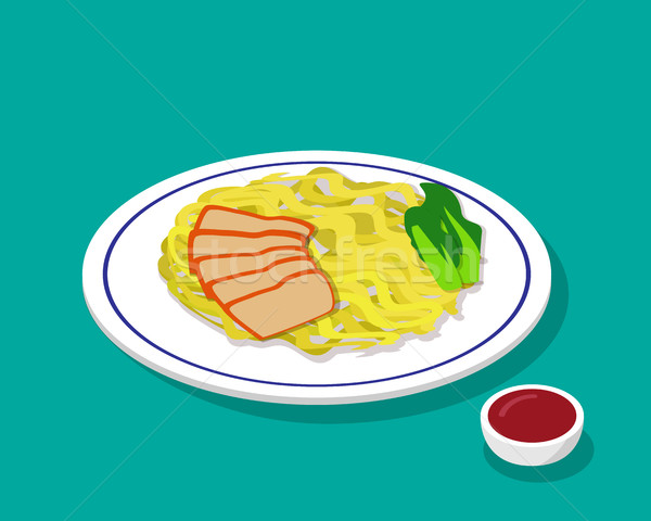 Dry Egg noodle soup with roast pork in 3d style Stock photo © jiaking1