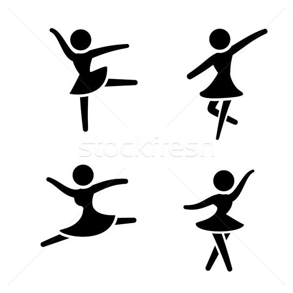 Szett balett ikonok sziluett stílus boldog Stock fotó © jiaking1