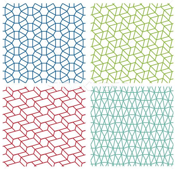 Set of modern seamless lace line pattern on white Stock photo © jiaking1
