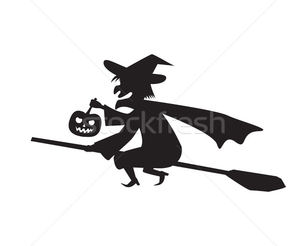 Witch hold pumpkin lamp on a broomstick Stock photo © jiaking1