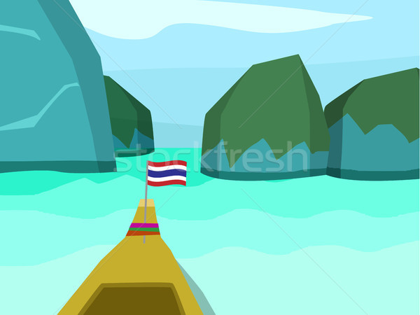 Phi phi island in flat style, vector landscape Stock photo © jiaking1