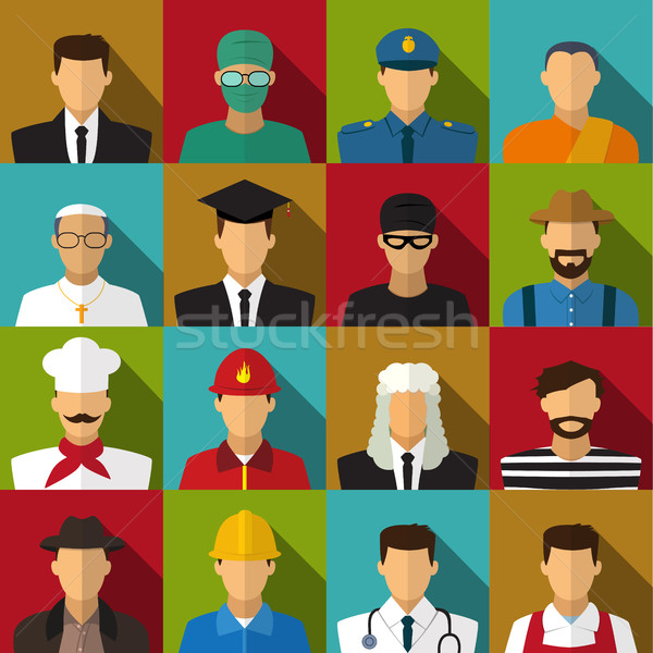 Set of 16 men job icons in flat with long shadow Stock photo © jiaking1