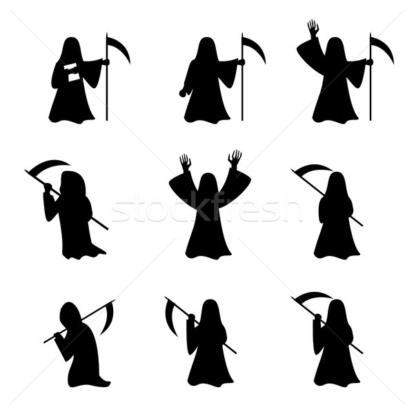 Set of Grim Reaper in silhouette style Stock photo © jiaking1