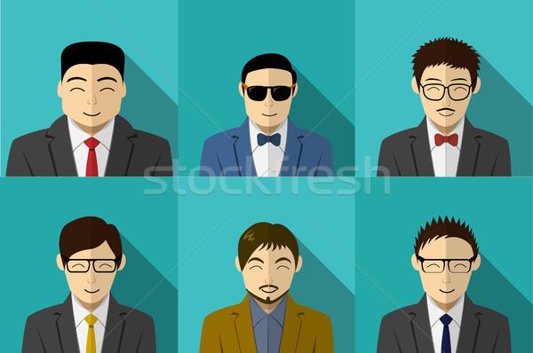 Stock photo: Set of modern Korean people in vector portait