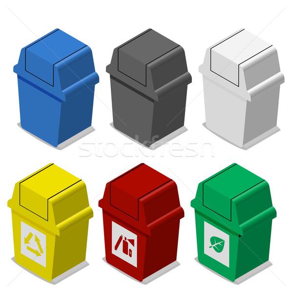Ingesteld isometrische prullenbak symbool icon Stockfoto © jiaking1