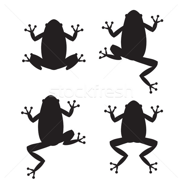 Set of frog silhouettes on white background Stock photo © jiaking1