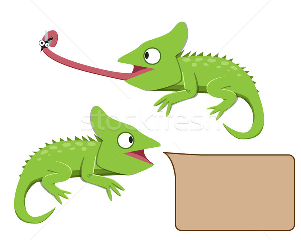 Lizard eating insect in flat style Stock photo © jiaking1