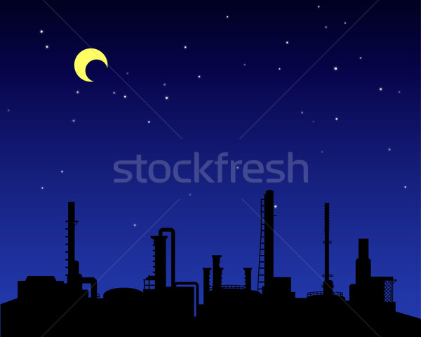 Refinería de petróleo industria silueta noche vector construcción Foto stock © jiaking1