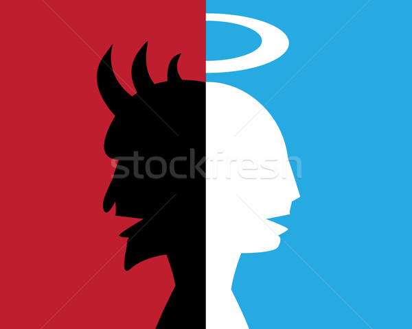 two-faced man,hypocrite, deceitful person Stock photo © jiaking1