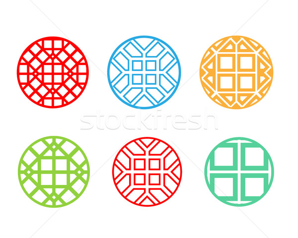 Modern round Korean pattern window frame, vector Stock photo © jiaking1