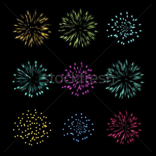Szett tűzijáték vektor tárgy izolált tűz Stock fotó © jiaking1