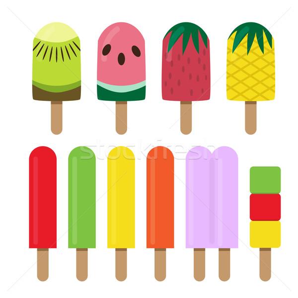 Ayarlamak meyve dondurma bar stil vektör Stok fotoğraf © jiaking1