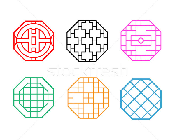 Modern Hexagon Korean pattern window frame Stock photo © jiaking1