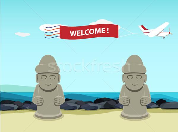 Kő szobor sziget tájkép tenger háttér Stock fotó © jiaking1