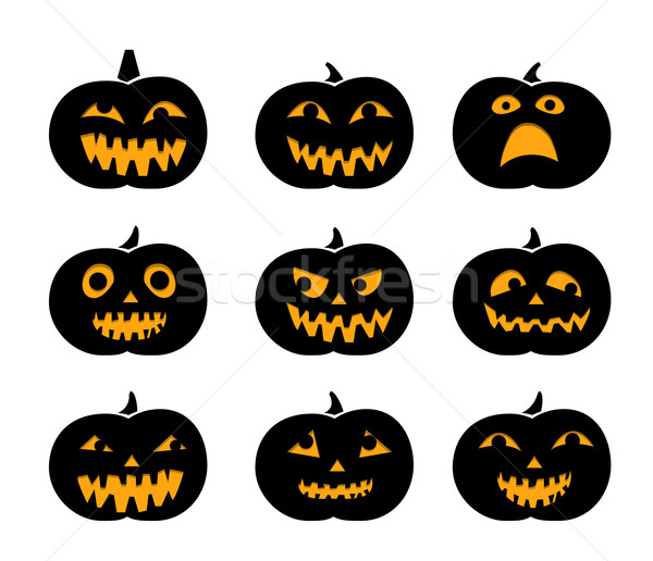 Set of black silhouette pumpkins with eyeball Stock photo © jiaking1